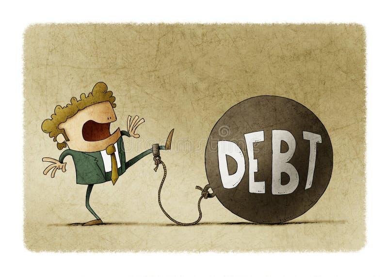 Un homme d'affaires surpris attaché à une grosse balle avec le mot dette illustration stock