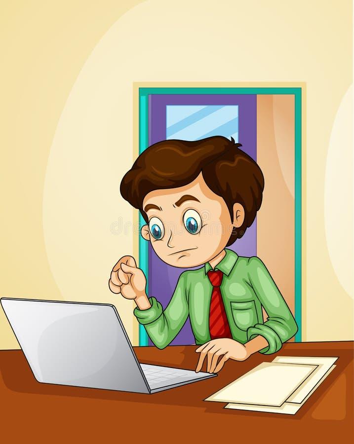 Un homme d'affaires utilisant l'ordinateur portable à l'intérieur de la salle illustration stock