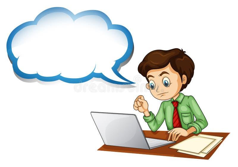 Un homme d'affaires utilisant l'ordinateur portable avec une légende vide illustration stock