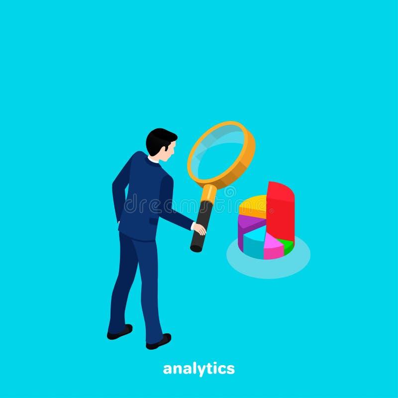 Un homme dans un costume regarde un graphique circulaire par une loupe illustration stock