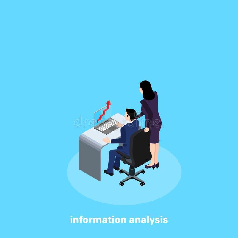 Un homme dans un costume s'assied aux stands de bureau et d'une femme près de elle illustration stock