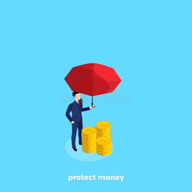 Un homme dans un costume se tient à côté d'une pile des pièces de monnaie tenant un parapluie rouge au-dessus de elles illustration stock