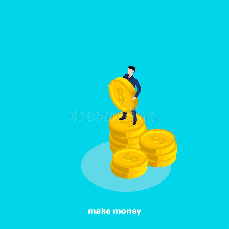 Un homme dans un costume tenant une grande pièce de monnaie avec un symbole dollar illustration de vecteur