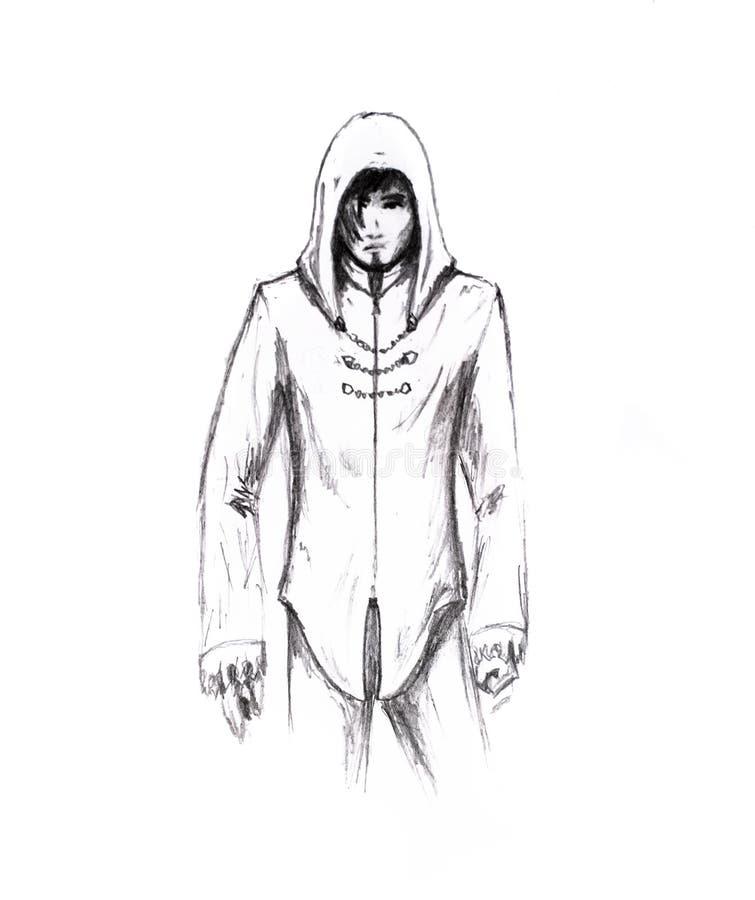 Un homme dans des vêtements avec un capot Crayon simple de figure Type désespéré illustration libre de droits