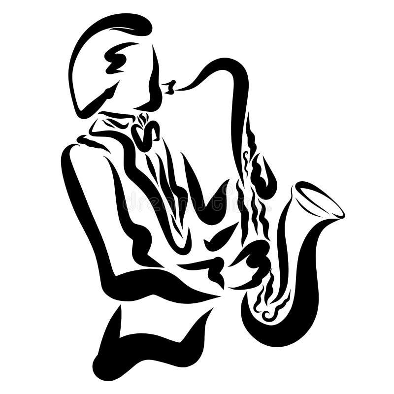 Un homme dans des vêtements classiques à la mode jouant le saxophone illustration libre de droits