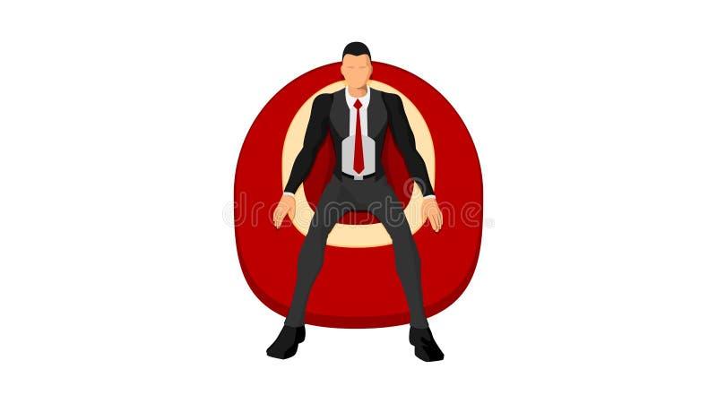 Un homme dans des vêtements ordonnés et un costume s'assied appréciant un sofa de mousse illustration libre de droits