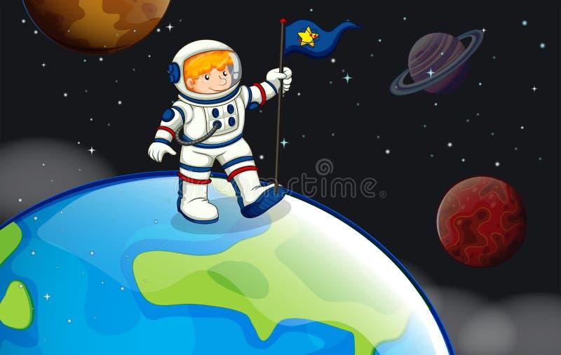 Un homme dans l'outerspace illustration stock