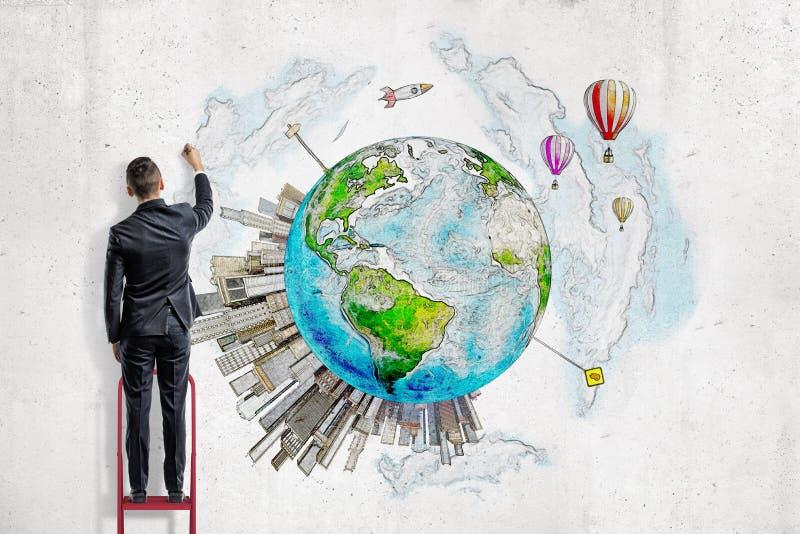 Un homme dans le costume se tenant sur une échelle et une terre de peinture de planète avec les gratte-ciel prenant naissance là- illustration stock