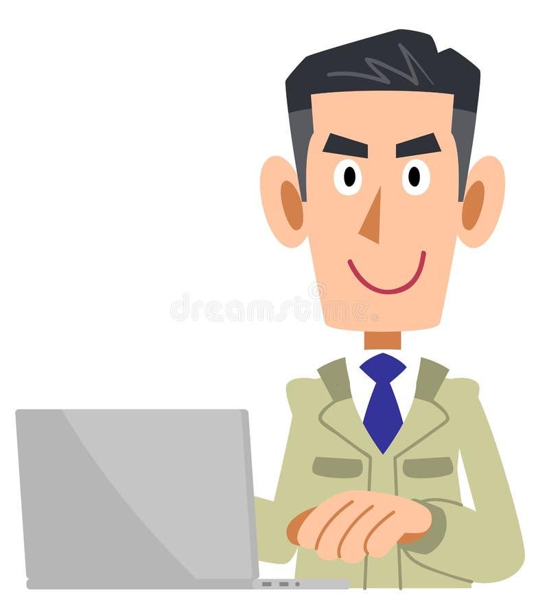 Un homme dans un magasin de construction actionnant un PC illustration stock