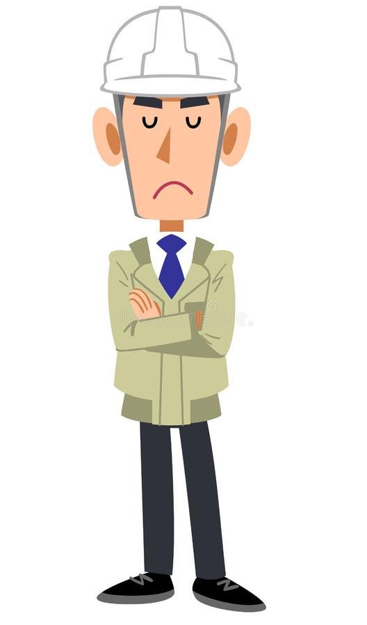 Un homme dans un magasin de construction portant un casque, bras s'est plié et des yeux fermés illustration de vecteur