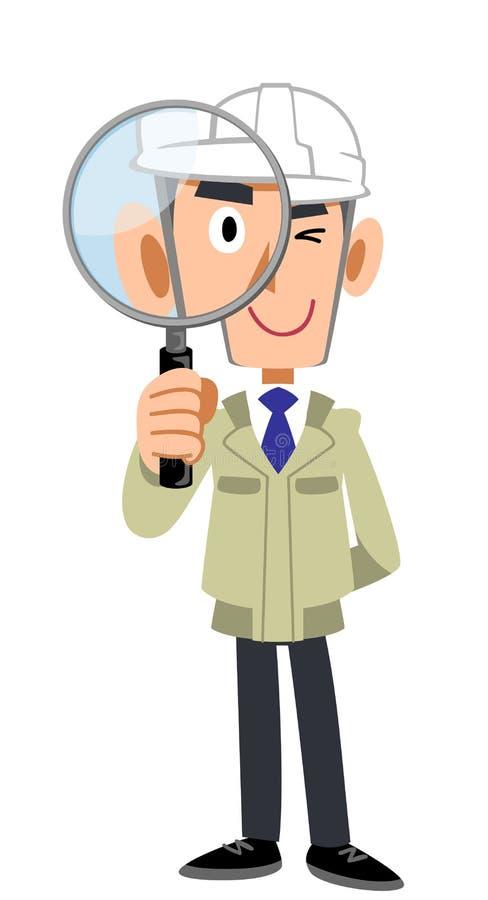 Un homme dans un magasin de construction portant un casque et regardant par une loupe illustration libre de droits