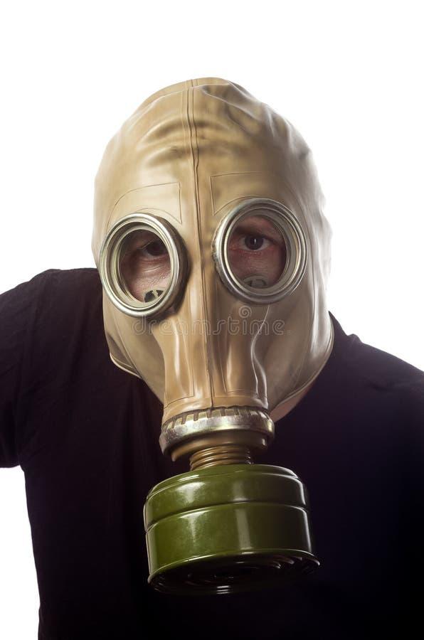 Un homme dans un masque de gaz GP-5 images libres de droits