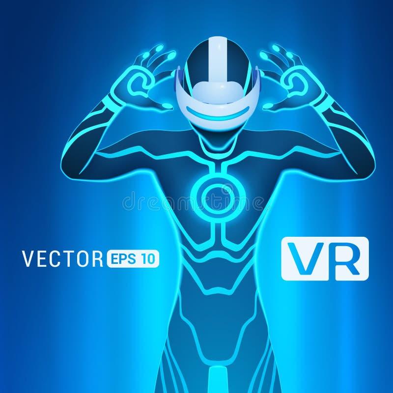 Un homme dans un casque de réalité virtuelle illustration libre de droits