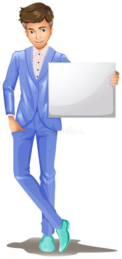 Un homme dans un vêtement formel tenant une enseigne vide illustration libre de droits