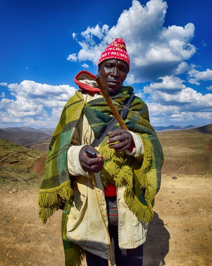 Un homme de Besotho chez le Lesotho photo stock