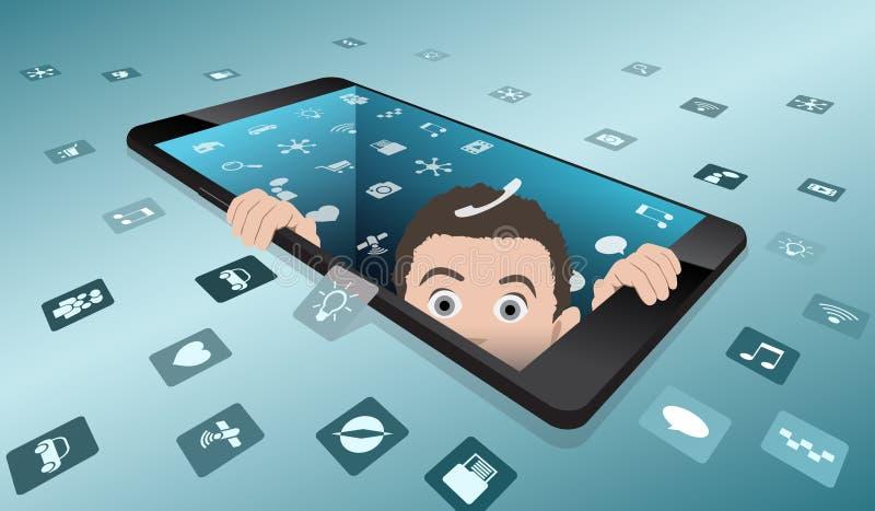 Un homme effrayé regarde hors du smartphone Le retour à la réalité de la réalité virtuelle illustration libre de droits