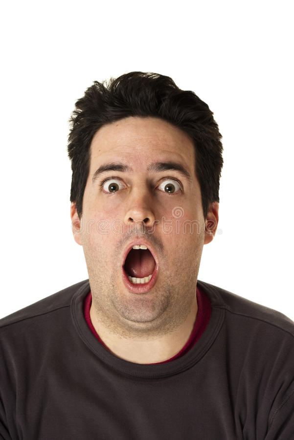 Un homme est choqué par ce qu'il voit photo stock