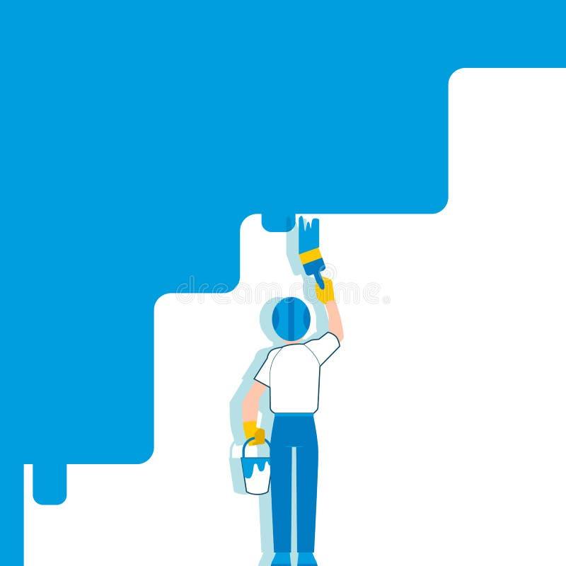 Un homme et un peintre dans un casque peint un mur blanc dans le bleu avec une brosse illustration stock