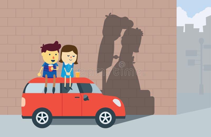 Un homme et une amie ont un rêve à épouser illustration libre de droits