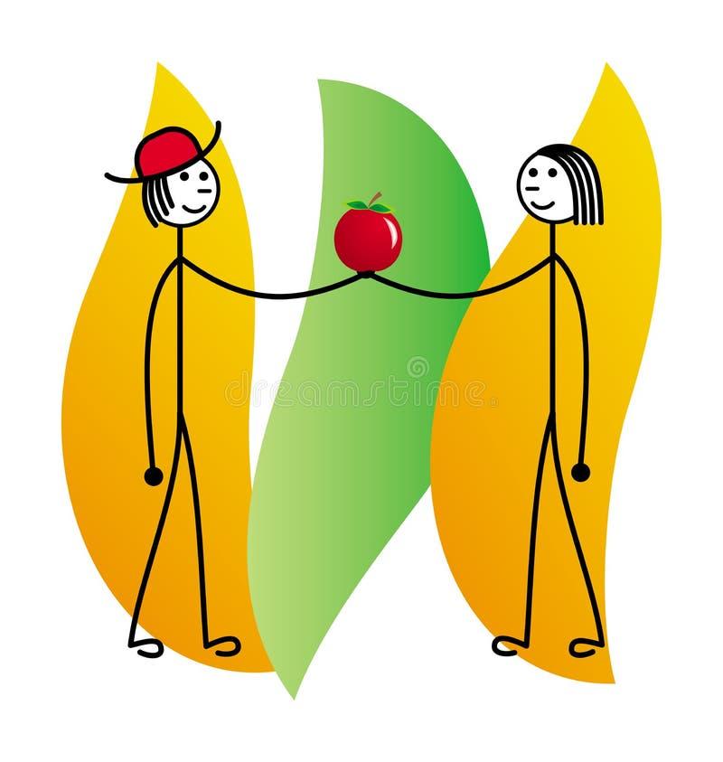 Un homme et une femme tiennent une pomme Dessin schématique de bande dessinée Retrait de vecteur illustration de vecteur