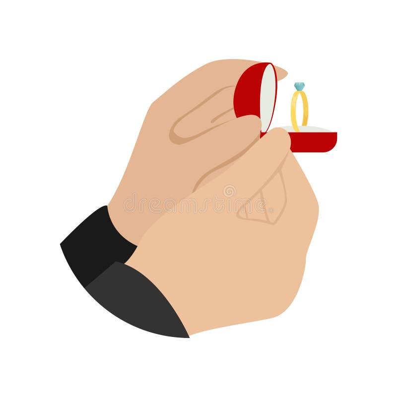 Un homme fait une proposition de mariage Les mains des hommes tenant une boîte rouge de velours avec une bague de fiançailles de  illustration libre de droits