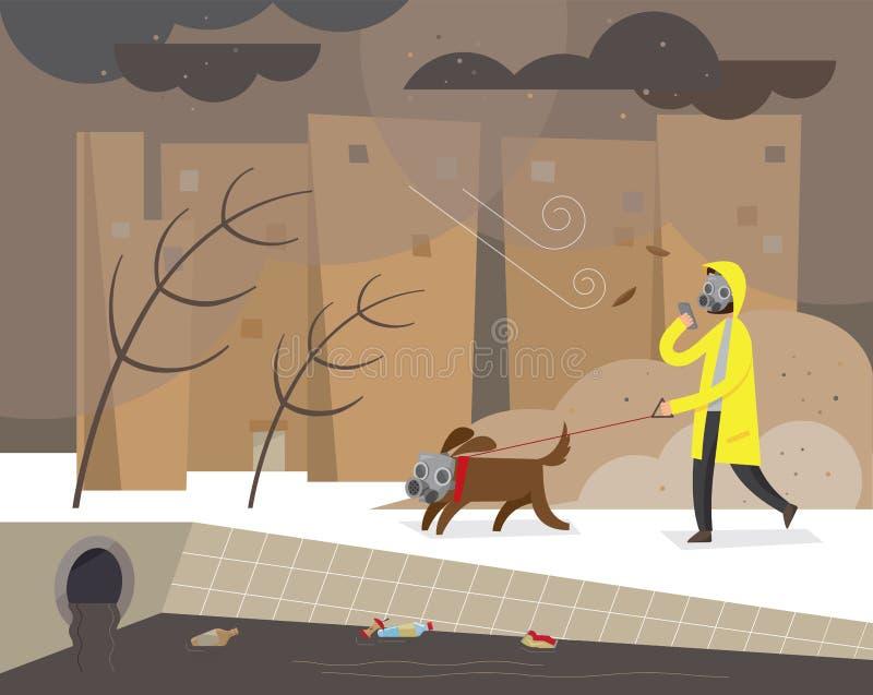 Un homme font un tour avec son chien dans une ville polluée enveloppée en brume toxique illustration libre de droits