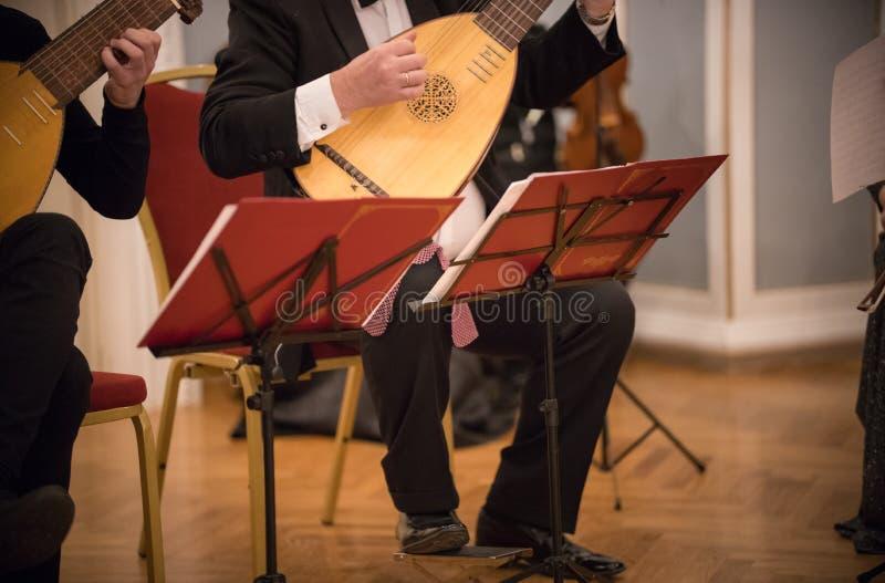 Un homme jouant l'instrument folklorique ficelé au concert photographie stock libre de droits