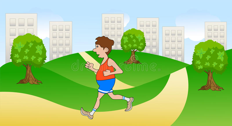 Un homme joue des sports dans la nature illustration libre de droits