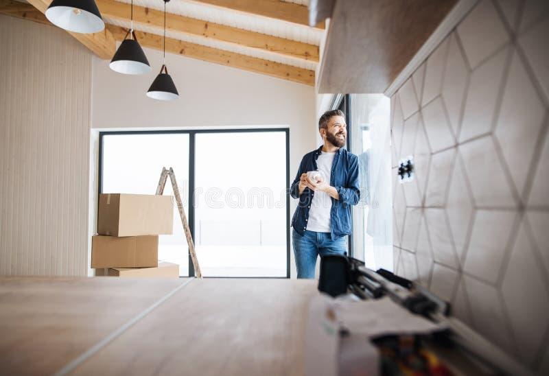 Un homme mûr avec des boîtes en carton se tenant prêt une fenêtre, nouvelle maison de fourniture photographie stock