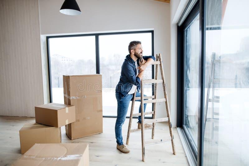 Un homme mûr avec des boîtes en carton se tenant prêt une fenêtre, nouvelle maison de fourniture image libre de droits