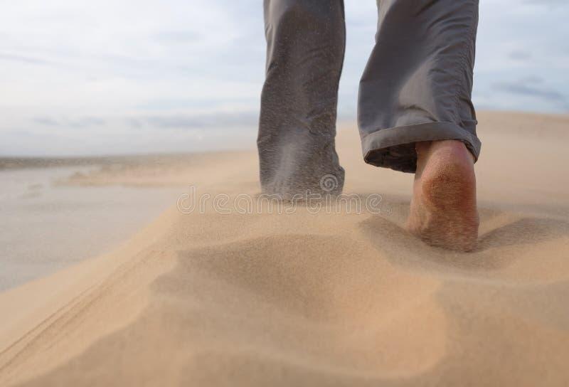 Un homme marche le long de la plage sablonneuse Dans le ciel, les grains de sable volent d'un vent violent photo stock