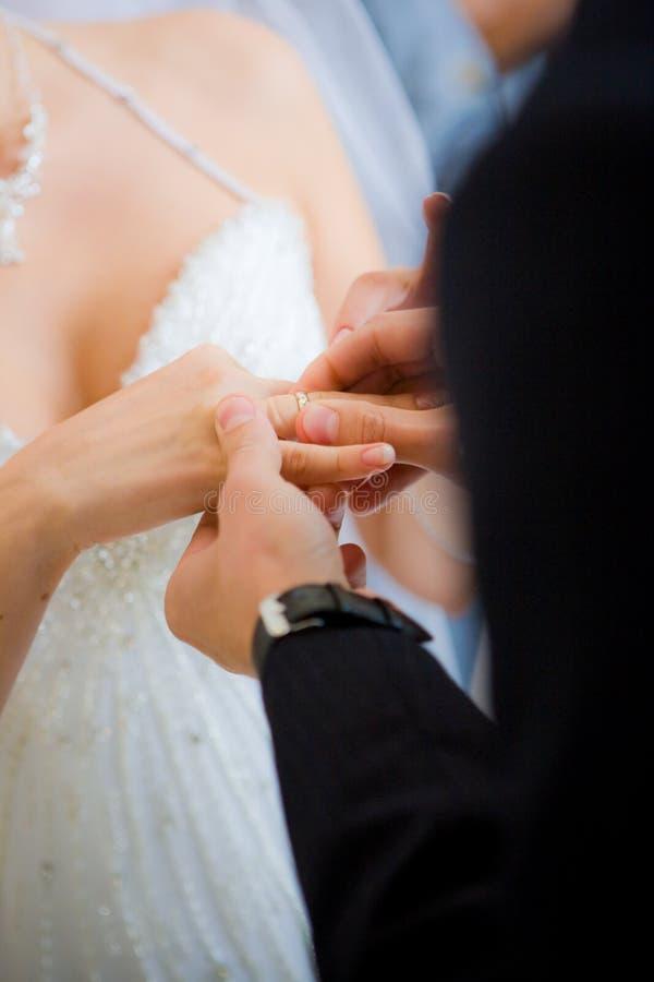 Un homme a mis la boucle sur le doigt de la mariée photographie stock libre de droits