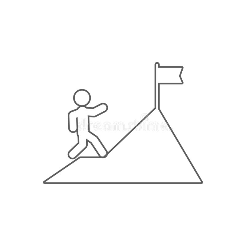 un homme monte une icône de montagne Élément des finances pour le concept et l'icône mobiles d'applis de Web Contour, ligne mince illustration de vecteur