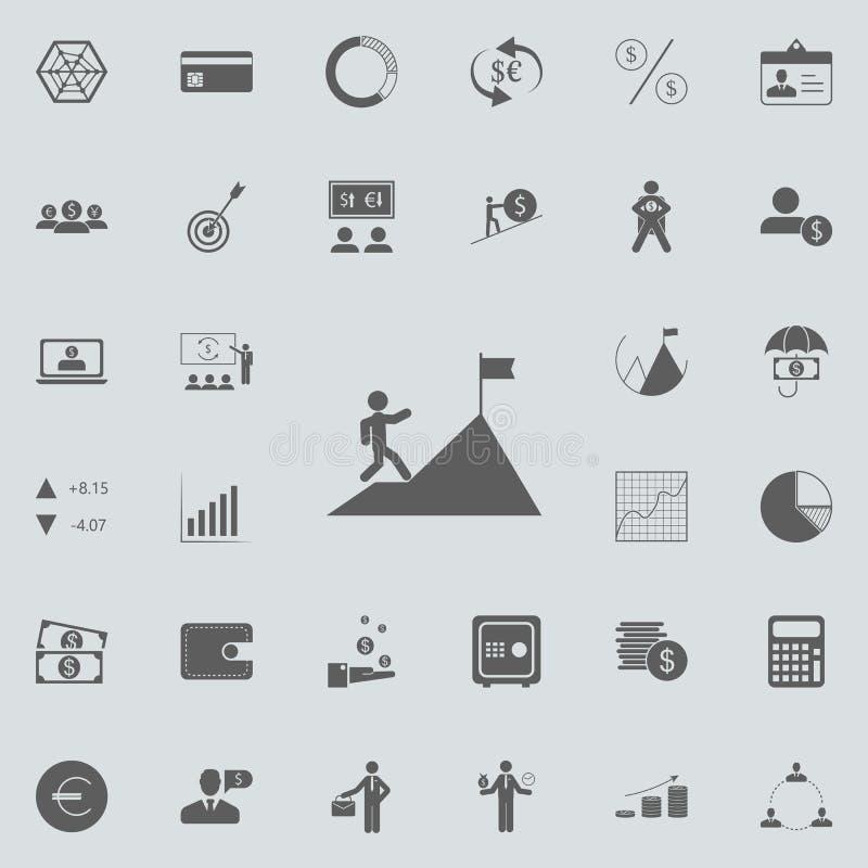 un homme monte une icône de montagne Ensemble détaillé d'icônes de finances Signe de la meilleure qualité de conception graphique illustration de vecteur