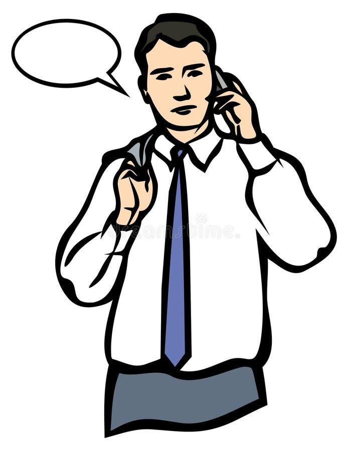 Un homme parlant d'un téléphone portable. JPG et ENV illustration libre de droits