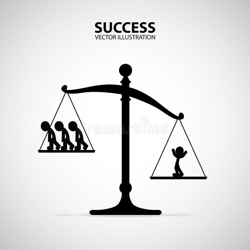 Un homme réussi heureux positif étant supérieur à beaucoup de personnes sur des échelles Homme d'affaires et concept de succès illustration de vecteur