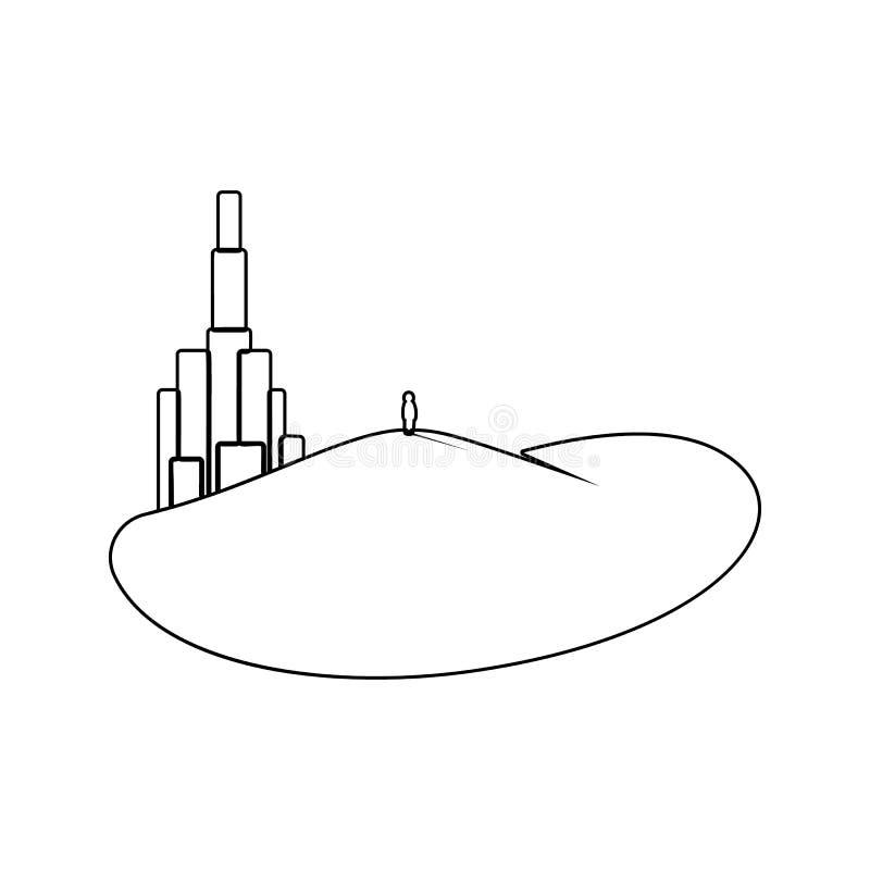 un homme regardant l'icône de ville Élément de parc et de paysage pour le concept et l'icône mobiles d'applis de Web Ligne mince  illustration libre de droits