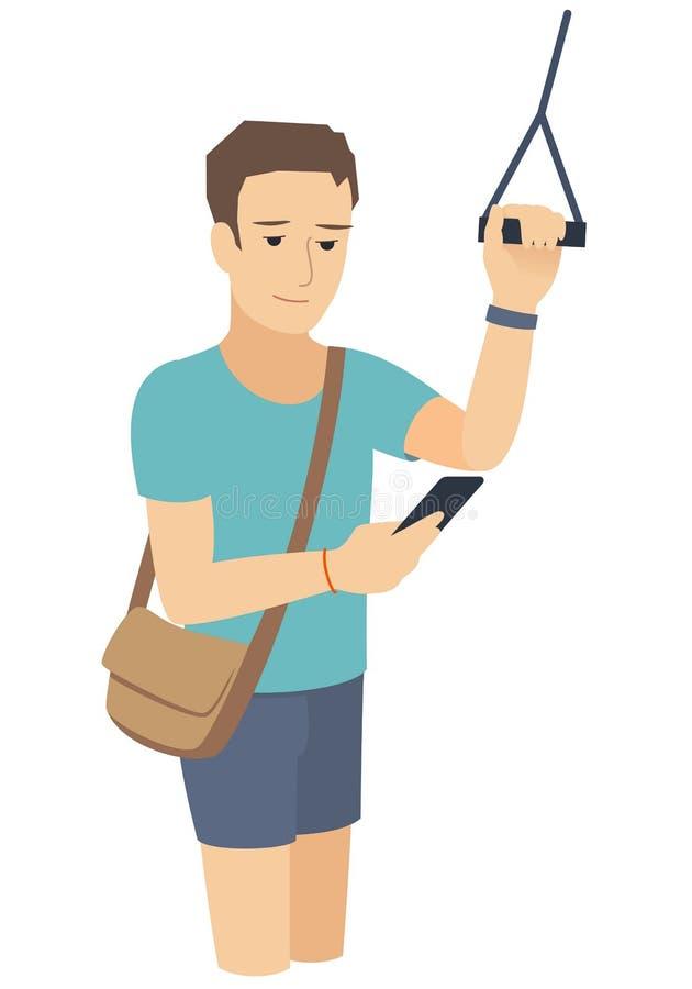 Un homme regarde un smartphone dans le transport en commun, tenant et tenant la balustrade, vecteur d'isolement photographie stock