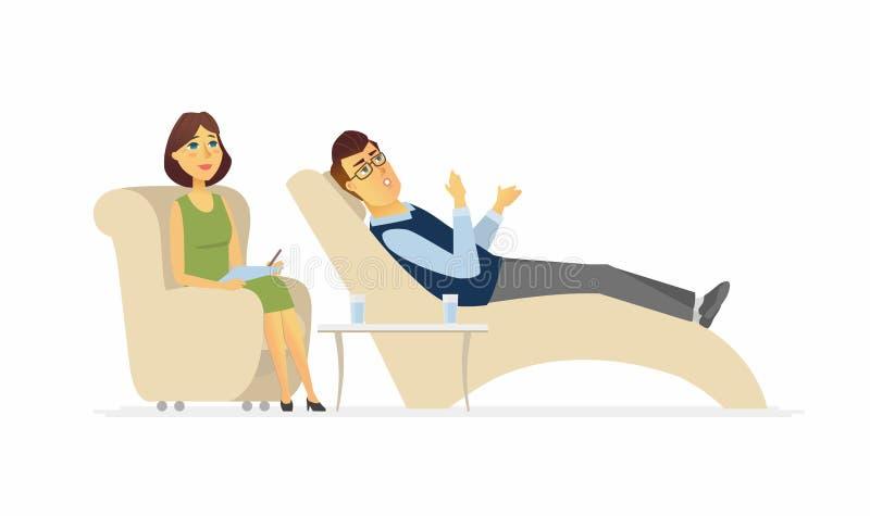 Un homme rendant visite à un psychologue - le caractère de personnes de bande dessinée a isolé l'illustration illustration stock