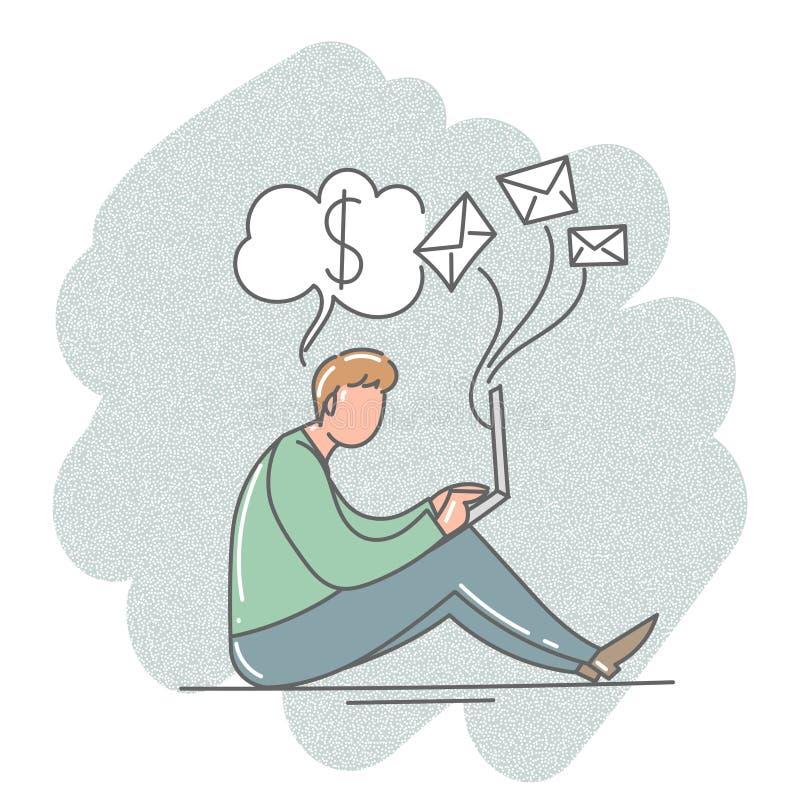 Un homme s'asseyant avec un ordinateur portable dans le bureau Illustration de vecteur illustration stock
