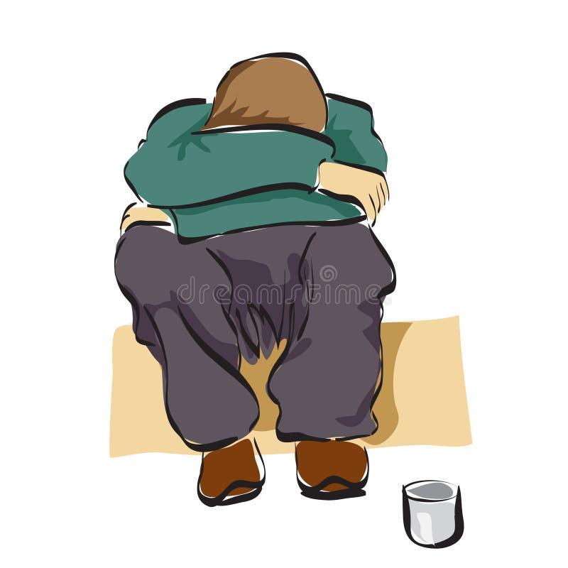 Un homme s'asseyant dans la rue avec la petite boîte pour l'argent D'isolement illustration libre de droits