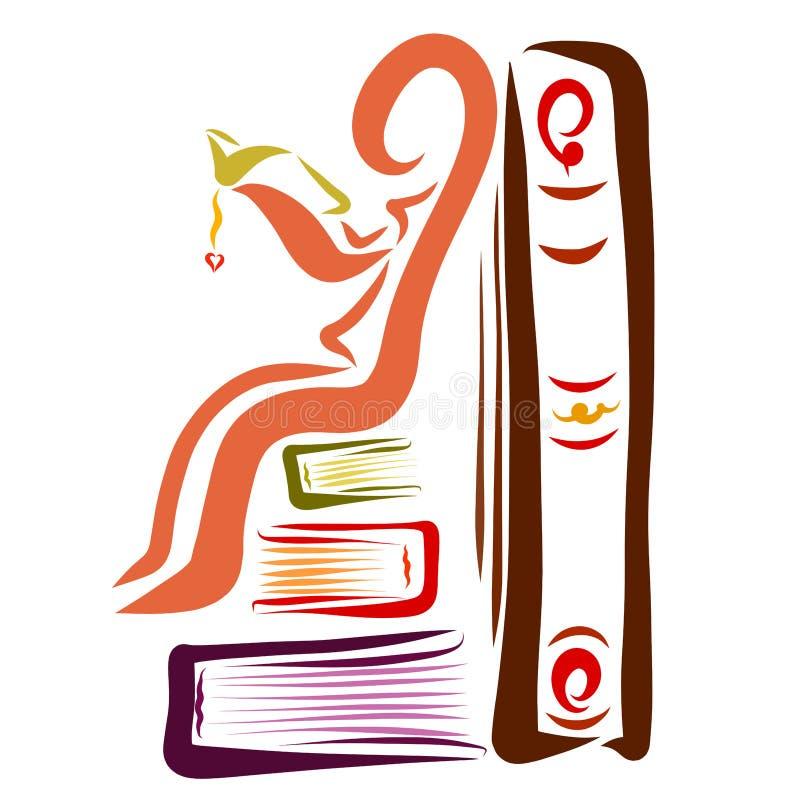 Un homme s'asseyant sur des livres avec un livre dans des ses mains et se penchant sur a illustration de vecteur