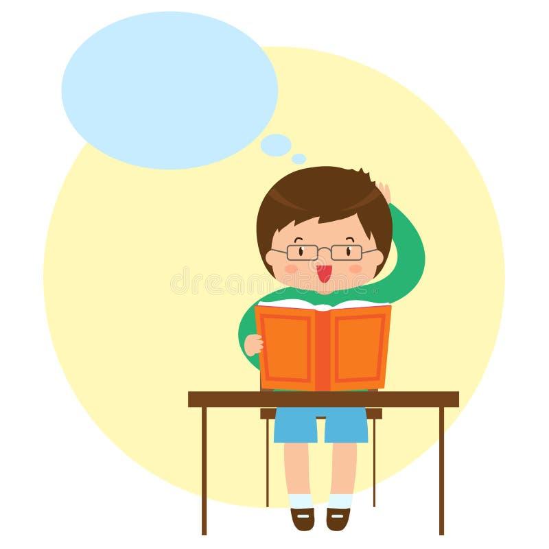 Un homme s'assied à la table et lit un livre illustration de vecteur