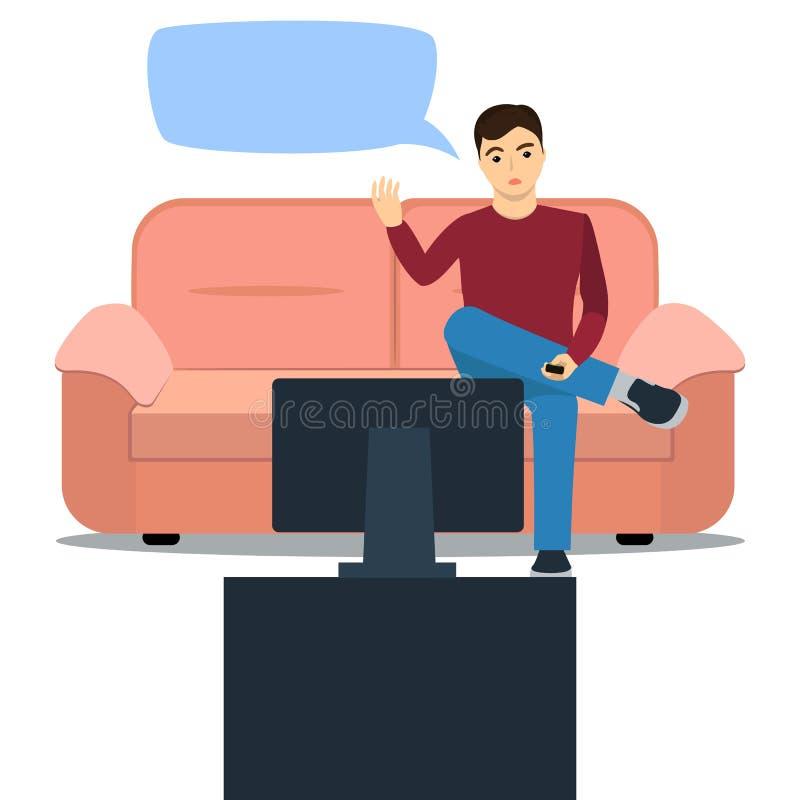 Un homme s'assied sur le divan regardant la TV et a outragé illustration de vecteur