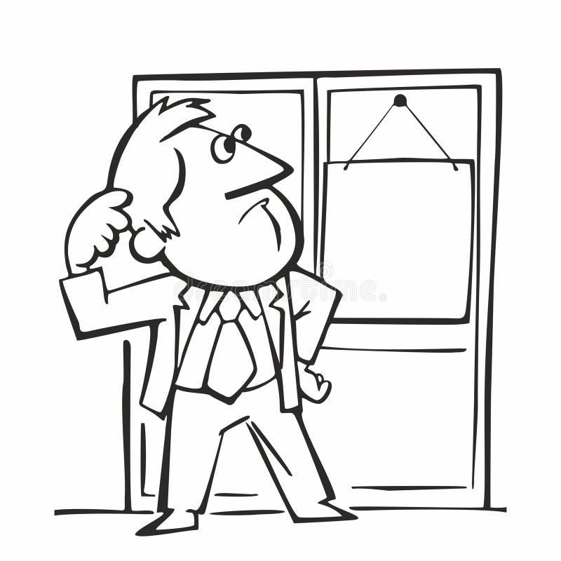 Un homme se tient devant la porte, rétro illustration de vecteur de bande dessinée illustration stock