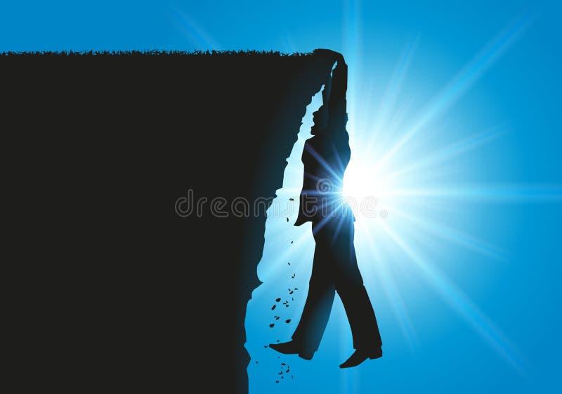 Un homme se trouve suspendu au-dessus du vide tout en se tenant au bord d'une falaise illustration libre de droits