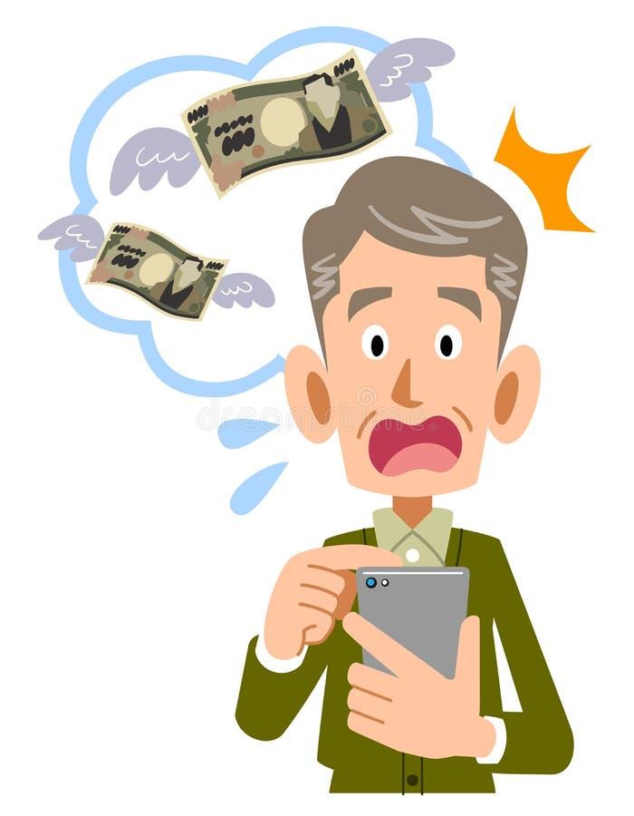 Un homme supérieur à étonner aux honoraires pour l'usage du téléphone cellulaire illustration libre de droits