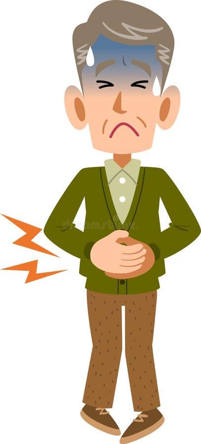 Un homme supérieur qui tient l'abdomen en raison de la douleur abdominale illustration stock