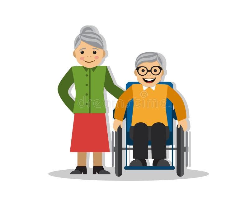 Un homme sur un fauteuil roulant et une joie illustration de vecteur