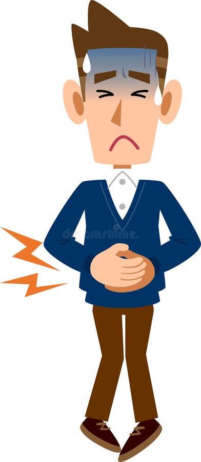 Un homme tenant un abdomen en raison de la douleur abdominale illustration de vecteur
